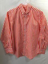 Kellys Kids Boys Long Sleeve Shirt Size 10-12 Orange White Striped Button Down