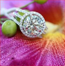 Party Ring 925 Sterling Silver 4Ct Round Moissanite Halo Engagement Wedding