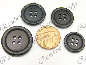 4 HOLE BLACK BUTTONS 16mm to 28mm BLACK PLASTIC BUTTONS FOUR HOLE BUTTONS