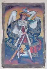 "Rare Religious Cusco Peru Folk Art Oil Painting 15"" x 23""- Angel Holding Rifle"