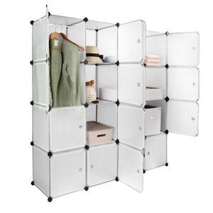 16 Cubes Interlocking Plastic Wardrobe Cabinet Storage and Organizer