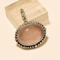 Natural Brazilian Rose Quartz Pendant 925 Sterling Silver Wedding Jewelry Gifts