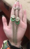 Chinese Antique Long Tassel Earrings Tibetan Silver Collection Jade Accessory