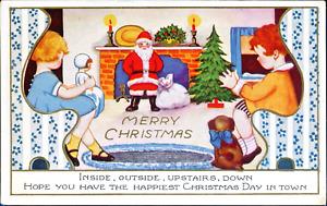 Whitney Art Deco Christmas~CHILDREN SEATED w/ DOG, SANTA, TOYS~Vintage Postcard