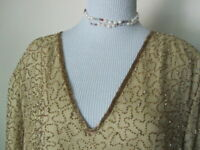 Vtg GOLD TROPHY Beaded Sequin Silk Holiday Cocktail Top CRUISE EVENT 4XL