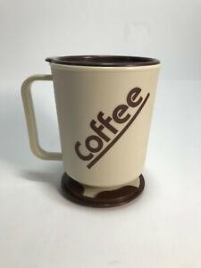Vintage 80's Travel Mug w Lid Car Dash Beige & Brown Coffee Cup USA Made VGC