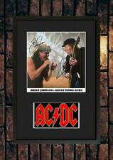 More details for (#242) angus young brian johnson ac/dc signed a4 photo//framed (pp) great gift