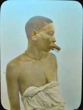 German East Africa   Makonde Woman with Lip Ornament   MAGIC LANTERN GLASS SLIDE