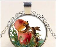 "BUNNY RABBIT EGG ANIMAL  pendant Silver 20"" Necklace women mom FREE $10 GIFT"