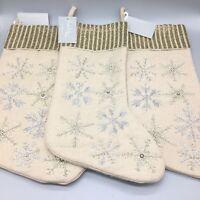 3pc Nicole Miller Wool Beaded Snowflake Christmas Stocking Set Silver Gold Tan