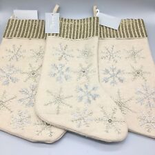 x3 Nicole Miller Wool Beaded Snowflake Christmas Stocking Set Silver Gold Tan