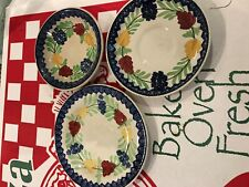 D. METHVEN-LINKS POTTERY-AULD HEATHERWARE DISH-STICK SPATTER/SPONGEWARE 3 DISHES