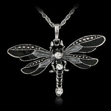Retro Animal Jewelry Necklace Pendant Dragonfly Crystal Sweater Chain Fashion