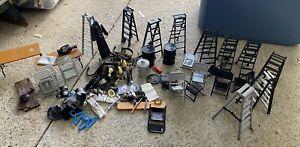 WWE Figure Wrestling Mattel Jakks Belts Ladders Chairs Tables Briefcase Rare Lot