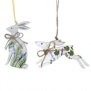 Gisela Graham 2 Piece Wooden Hare Easter Hanging Tree Decorations - Floral