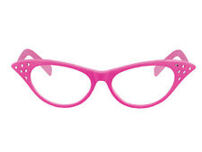 Ladies Girls PINK 60s Glasses Dame Clear Lens Hen Party Fancy Dress Accessory