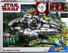 Star Wars Hot Wheels Millenium Falcon Track Set Character Car with Chewbacca