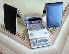 Mens Black Cream Slim Money Clip -PU Leather Wallet- Credit ID Card Holder-101