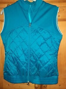 Callaway Ladies Teal  Blue Quilted Full Zip Gilet Sleeveless Jacket Size 14