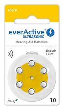60 x Hearing Aid Batteries 10 Yellow PR70 everactive + 6 x Rayovac Extra Free