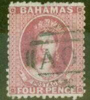 Bahamas 1863 4d Brt Rose SG26x Wmk Reversed Fine Used