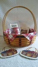 Longaberger 2002 All American Casserole Basket Set, Liner, handle tie, coasters