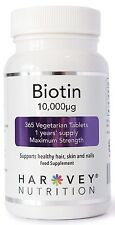BIOTIN 365 Tablets 10,000mcg High Strength Healthy Hair Skin Nails Growth