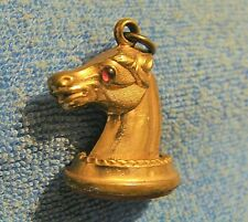 RARE ANTIQUE GOLD PLATE HORSE HEAD w RED ONYX BOTTOM & RED STONE EYES WATCH FOB