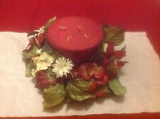 """RED PILLAR 5"""" TALL 4 WICK CANDLE WITH CHRISTMAS WREATH"""