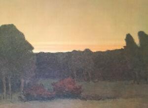 Russell Chatham Original Lithograph Missouri Headwaters Forest At Sunset Signed