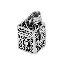 Heart on Box Case Cremation Jewelry Keepsake Pendant Memorial Urn Ash Holder