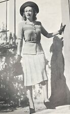 1940s Belted Jacket Suit Flare Skirt Patons Knitting Pattern PDF Copy