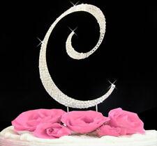 "Large Rhinestone Crystal Monogram Letter ""C""  Wedding Cake Topper  5"" inch high"