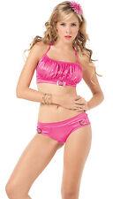 2081 Gogo Metallic Pink Hot Satin Bikini Exotic Dance Clubwear Rave S M L XL