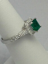 18KT Emerald & Diamonds Ring White Gold