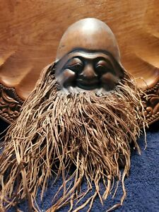 """Antique Vintage Unusual Hand Carved Face Bamboo Root Tree Home Decoration 10"""""""