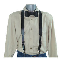 2 Piece Set: Black Leather Suspenders w/Trigger Snaps and Black Leather Bow Tie