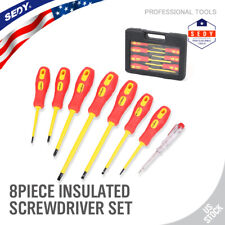 8pc Insulated Electrician Screwdriver Set Magnetic Tip Slotted & Phillips Tester