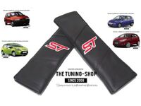 """2x Seat Belt Covers Pads Black Leather """"ST"""" Edition For Ford Fiesta"""