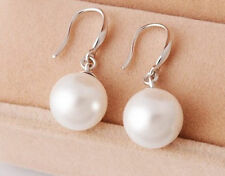 New 925 Sterling Silver Freshwater Sea Shell Pearl Drop Dangle Earrings