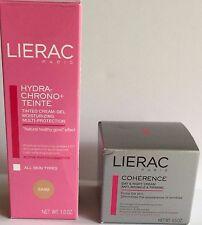 LIERAC Hydra Chrono Tinted Cream Gel *Sand*1oz Coherence Day & Night Cream 0.5oz