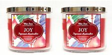 2 Bath & Body Works Joy Peppermint Marshmallow 3-Wick Filled Candle 14.5