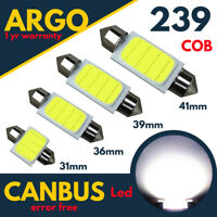 239 272 Car Led Number Plate Light Bulbs C5W Festoon Cob White 31 36 39 41mm 12v