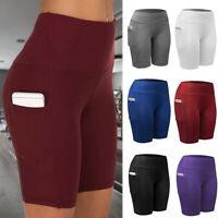 Womens High Waist Compression Yoga Shorts Pockets Push-Up Gym Fitness Hot Pants
