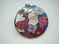 Vintage enamel figural flower pierced brooch pin Sea Gems