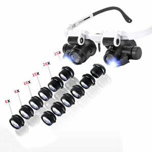 6X-25X LED Wearing Magnifier Replaceable Multi-Lenses for Jewelry Watch Repair