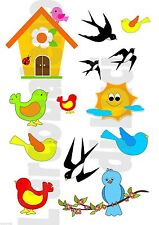 13 ADESIVI WINDOW STICKERS FINESTRA UCCELLINI BIRDS PRIMAVERA RONDINI SPRING
