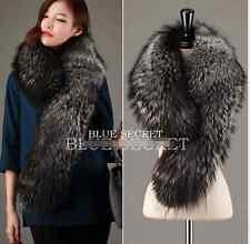 Womens Big Fox Fur Scarf Furry Collar Shawl Winter Warm Muffle Wraps Luxury Hot