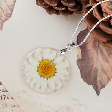 Boho Transparent Resin Dried Daisy Flower Pendant Ball Chain Necklace Jewelry