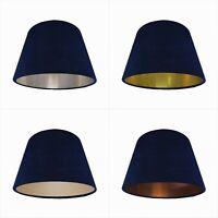 Deep Navy Blue Velvet Empire Lampshade Tapered Lightshade Metallic Conical
